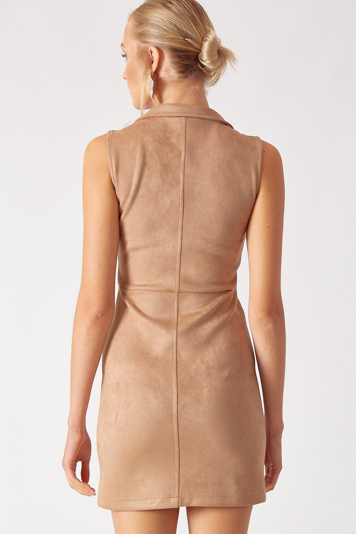 Fermuarlı Süet Elbise Taş