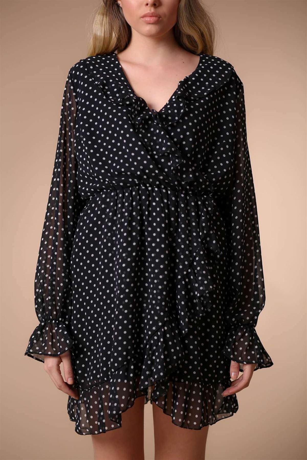 Volan Detaylı Elbise Siyah