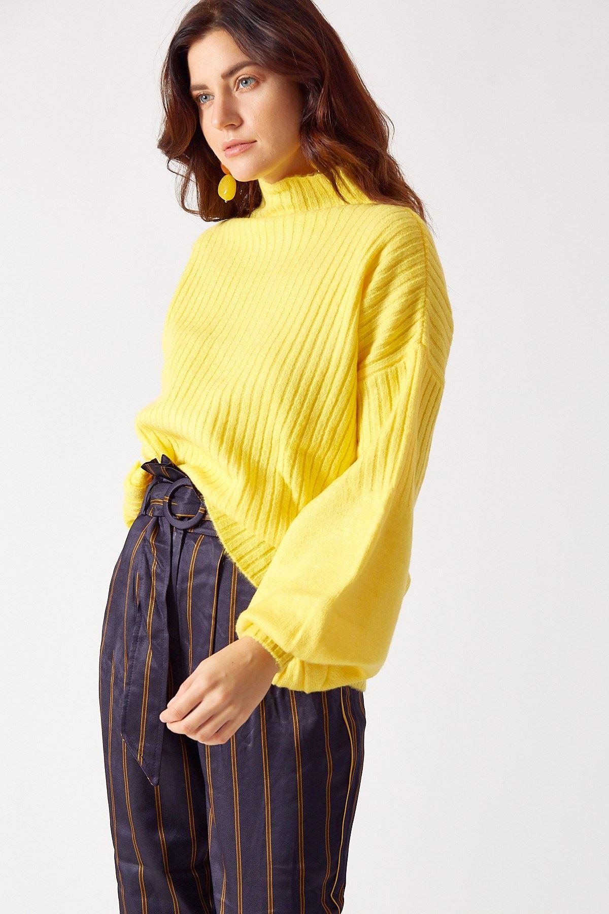 Balon Kol Triko Sarı
