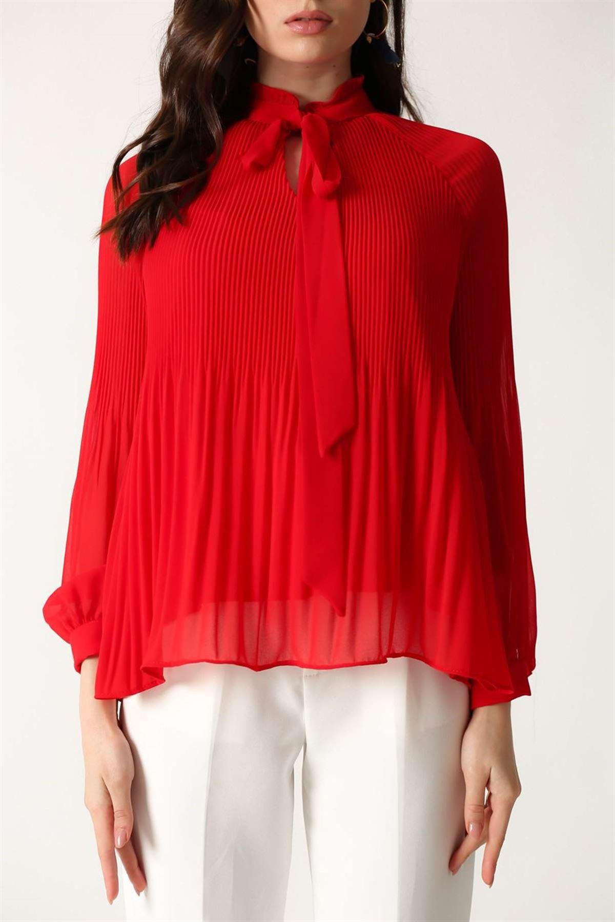 Piliseli Bluz Kırmızı