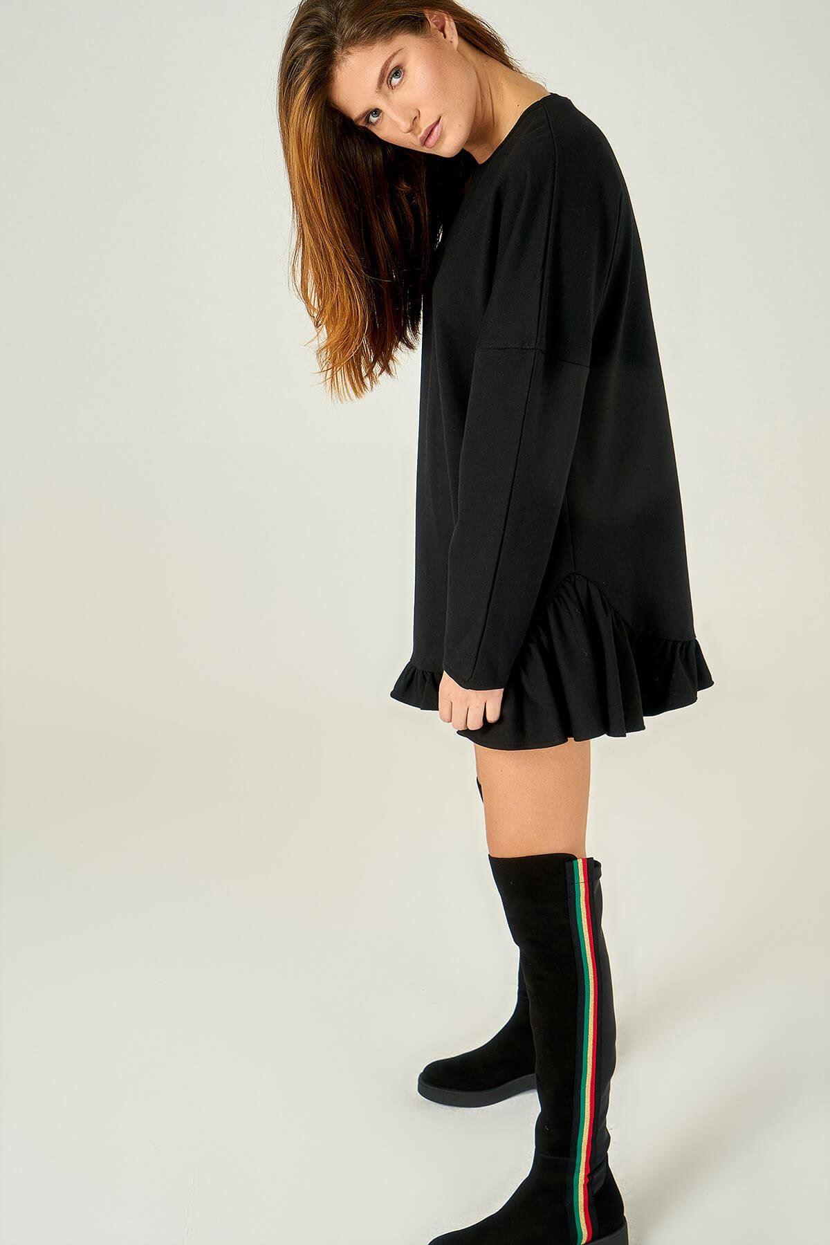 Kadın Siyah Eteği Fırfırlı Tunik