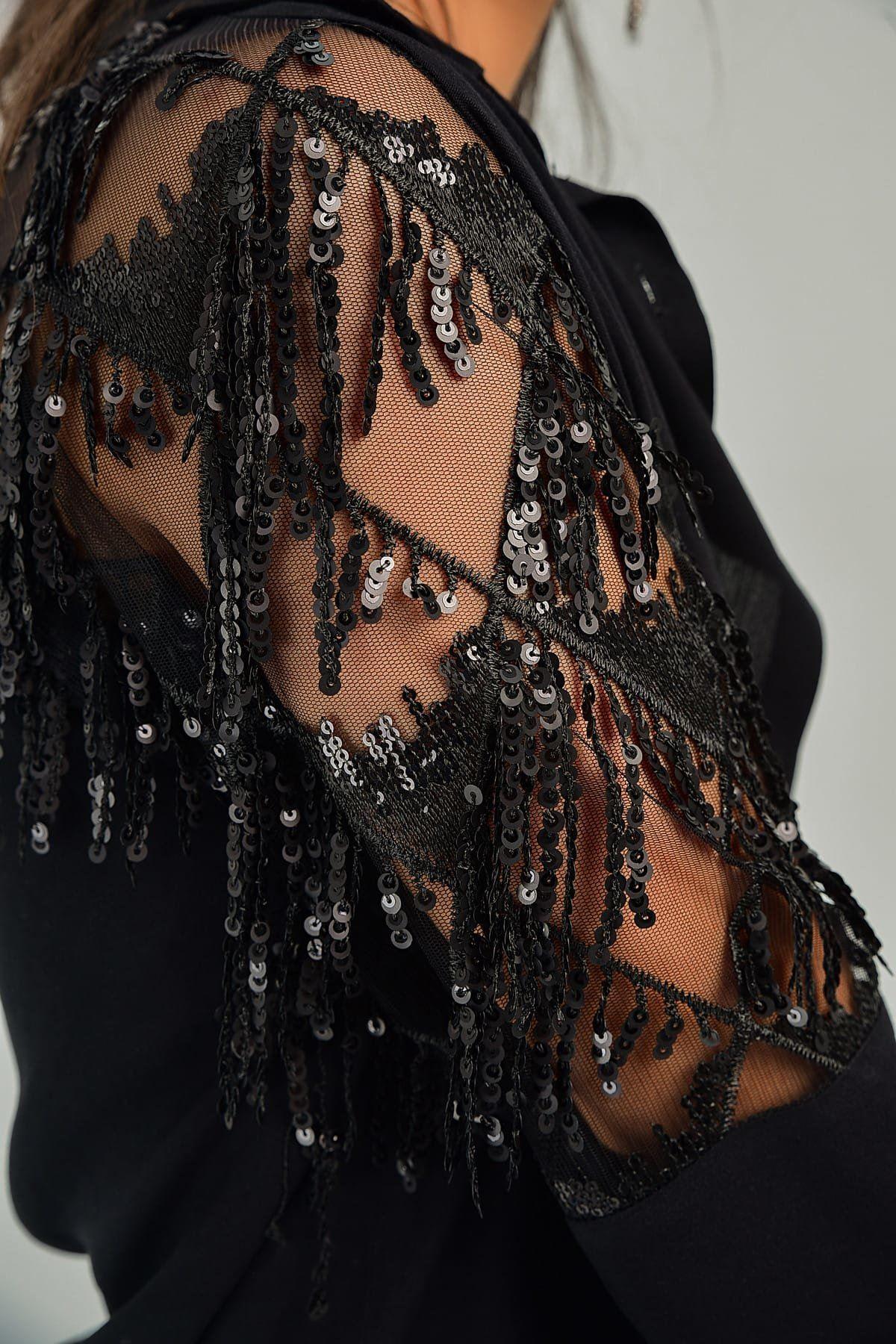 Siyah Payetli Püsküllü Gömlek