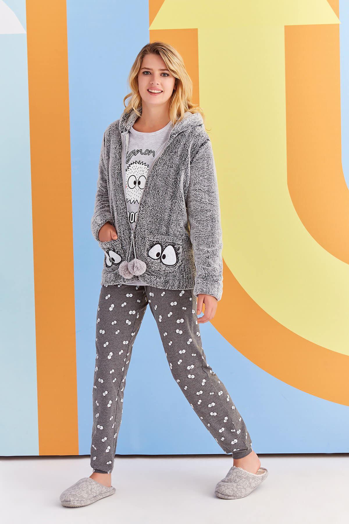 Açık Gri 3Lü Polarlı Pijama Takım