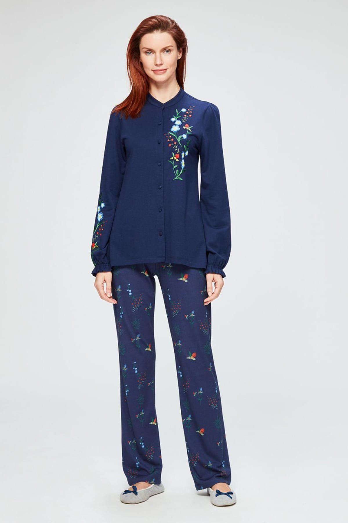 Lacivert Nakışlı Gömlek Uzun Kollu Pijama Takımı