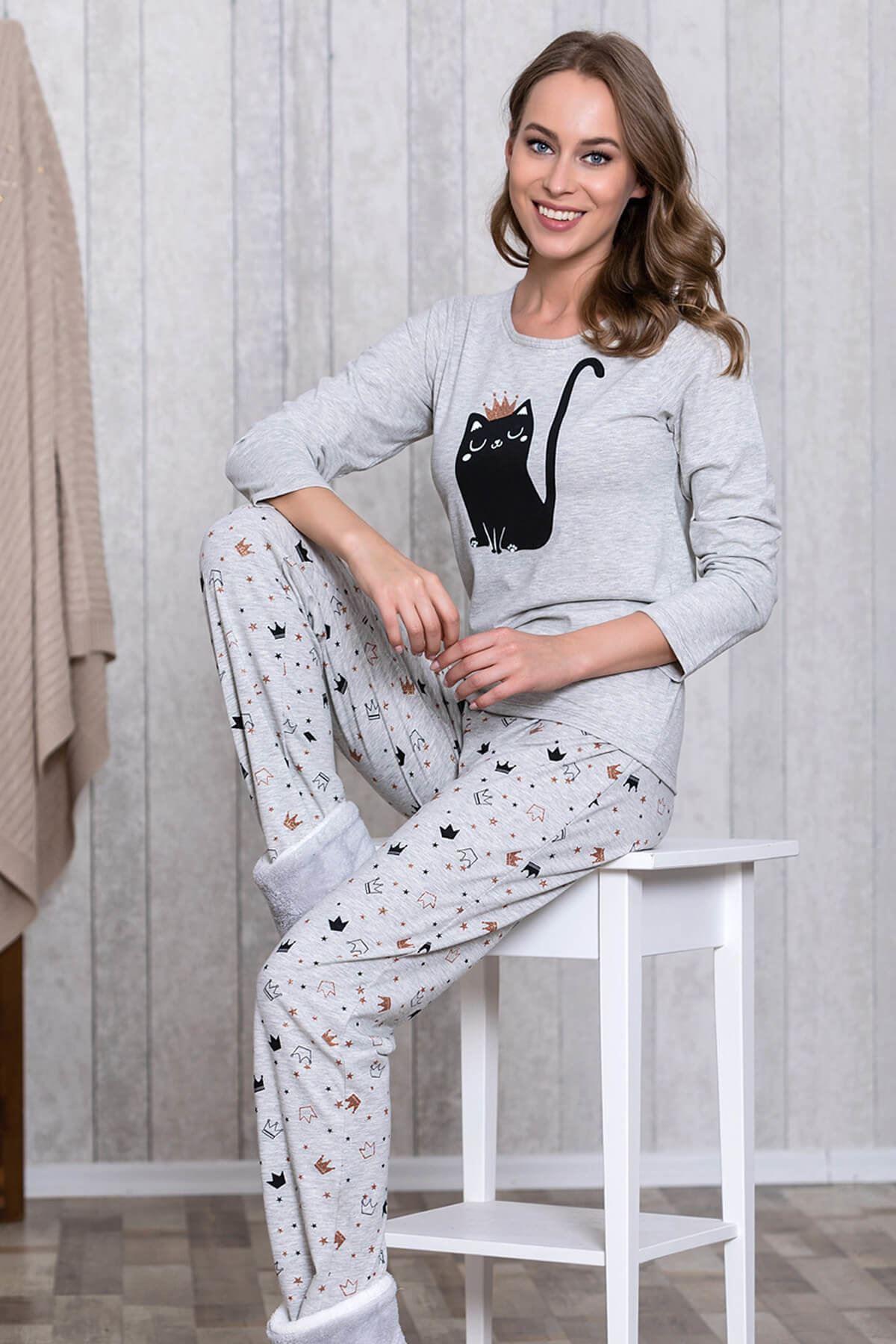 Gri Taçlı 2'li Pijama Takım