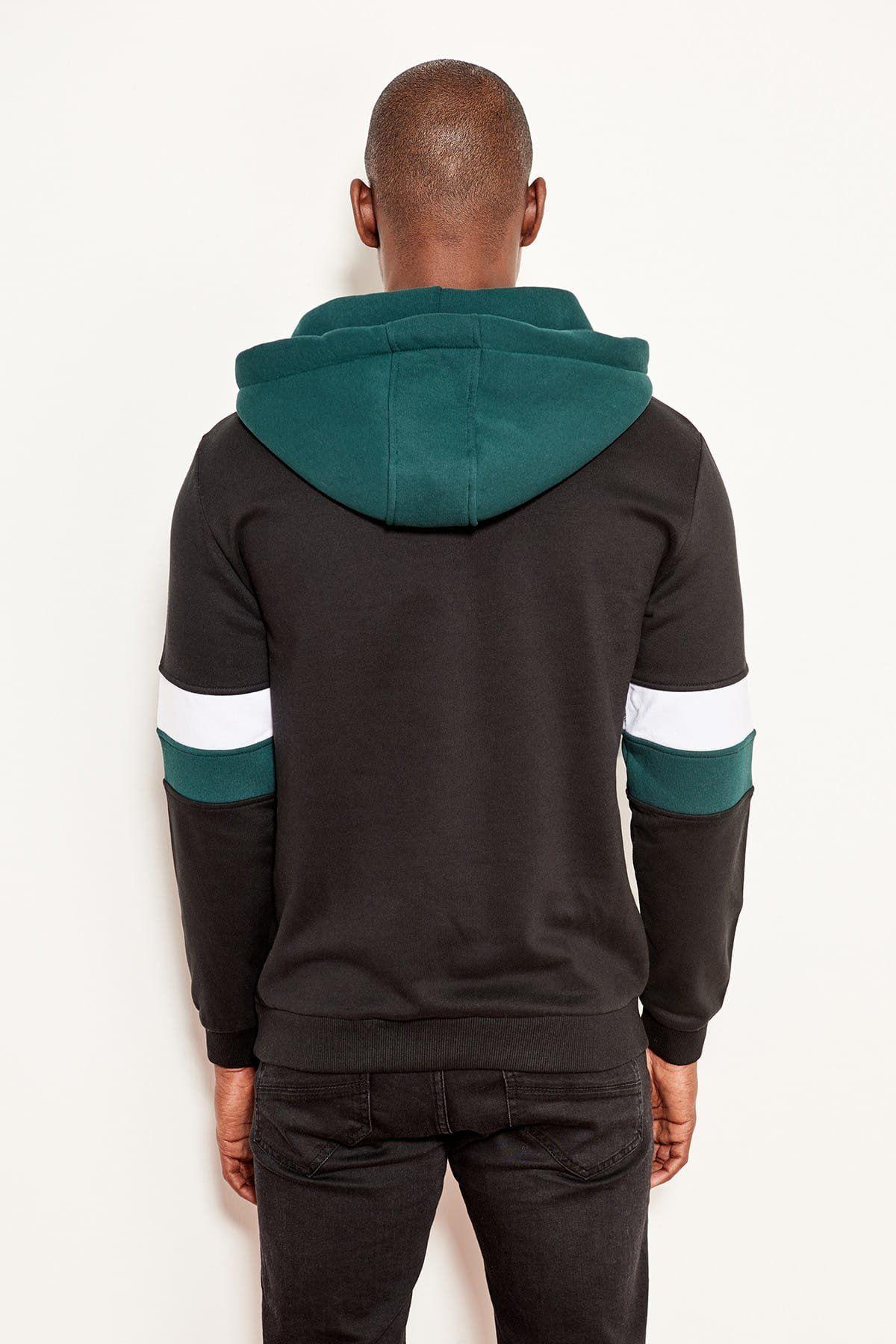 Siyah Erkek Kolları Çizgili Kapüşonlu Sweatshirt