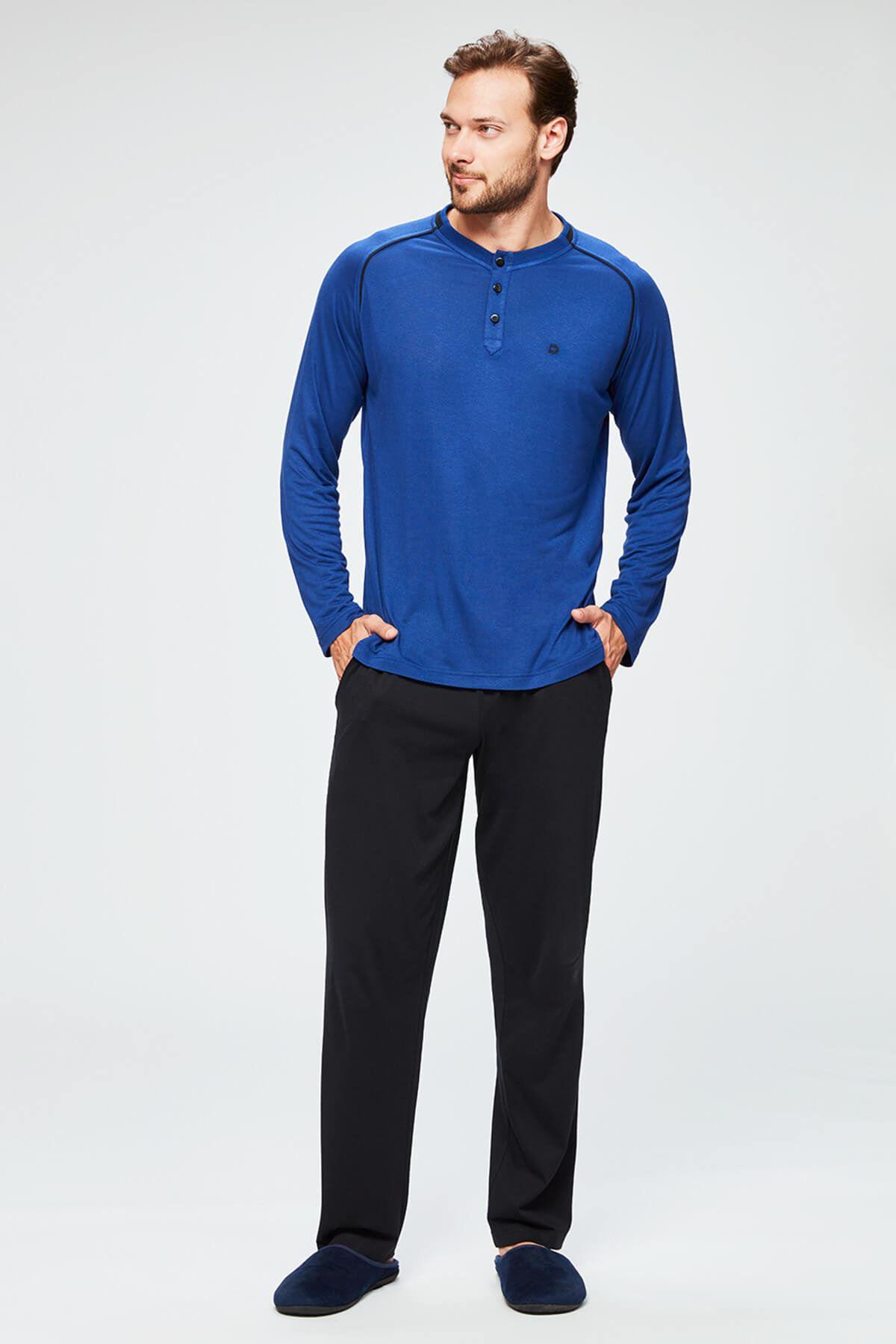Erkek Saks Mod. O Patlı Paçası Rib. Uzun Kollu Pijama Takımı