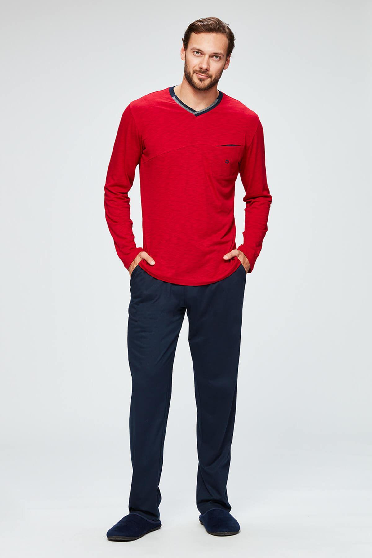 Erkek Kırmızı Flamlı Mod. V Yaka Uzun Kollu Pijama Takımı