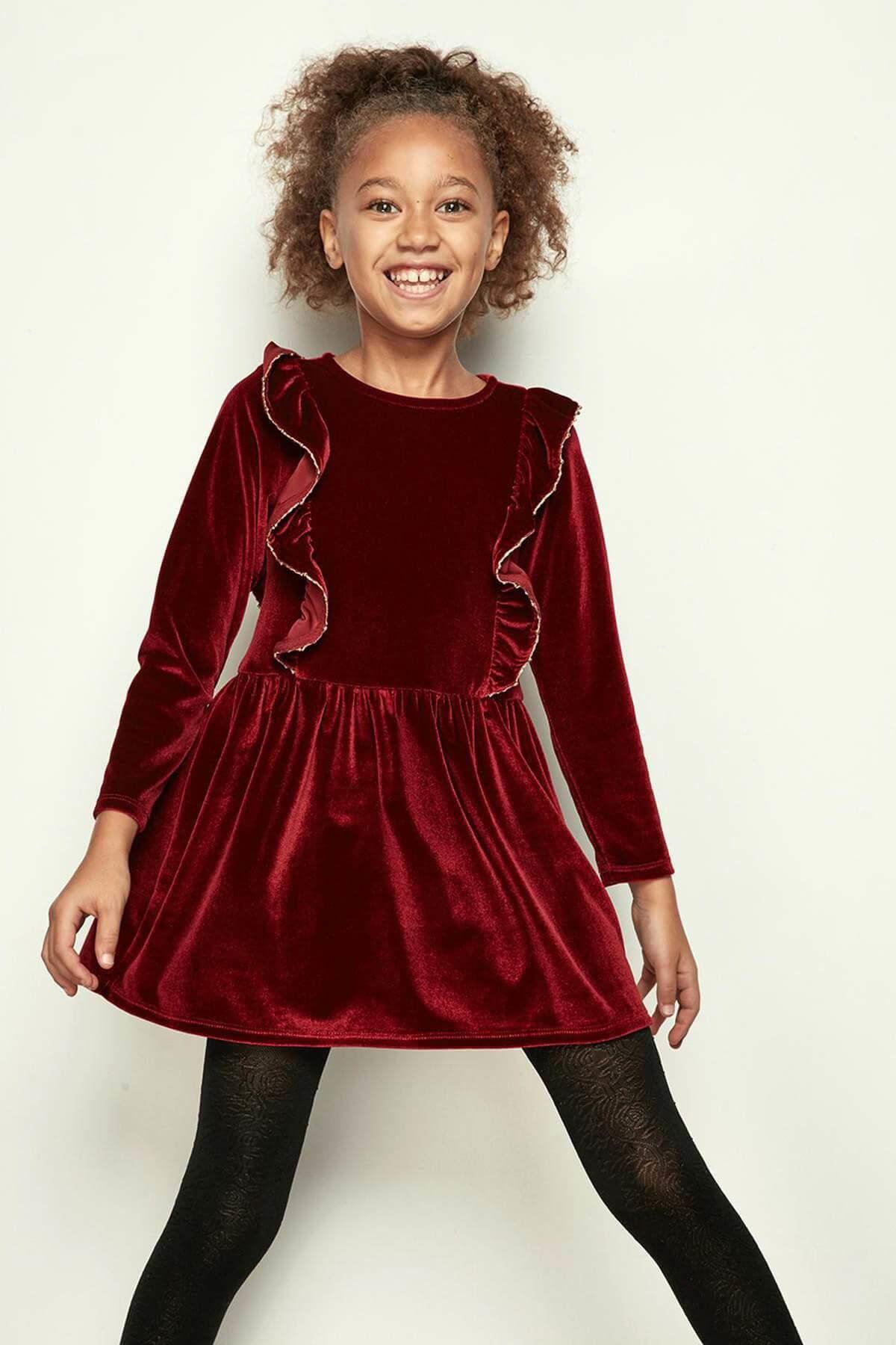 Kız Çocuk Kadife Elbise