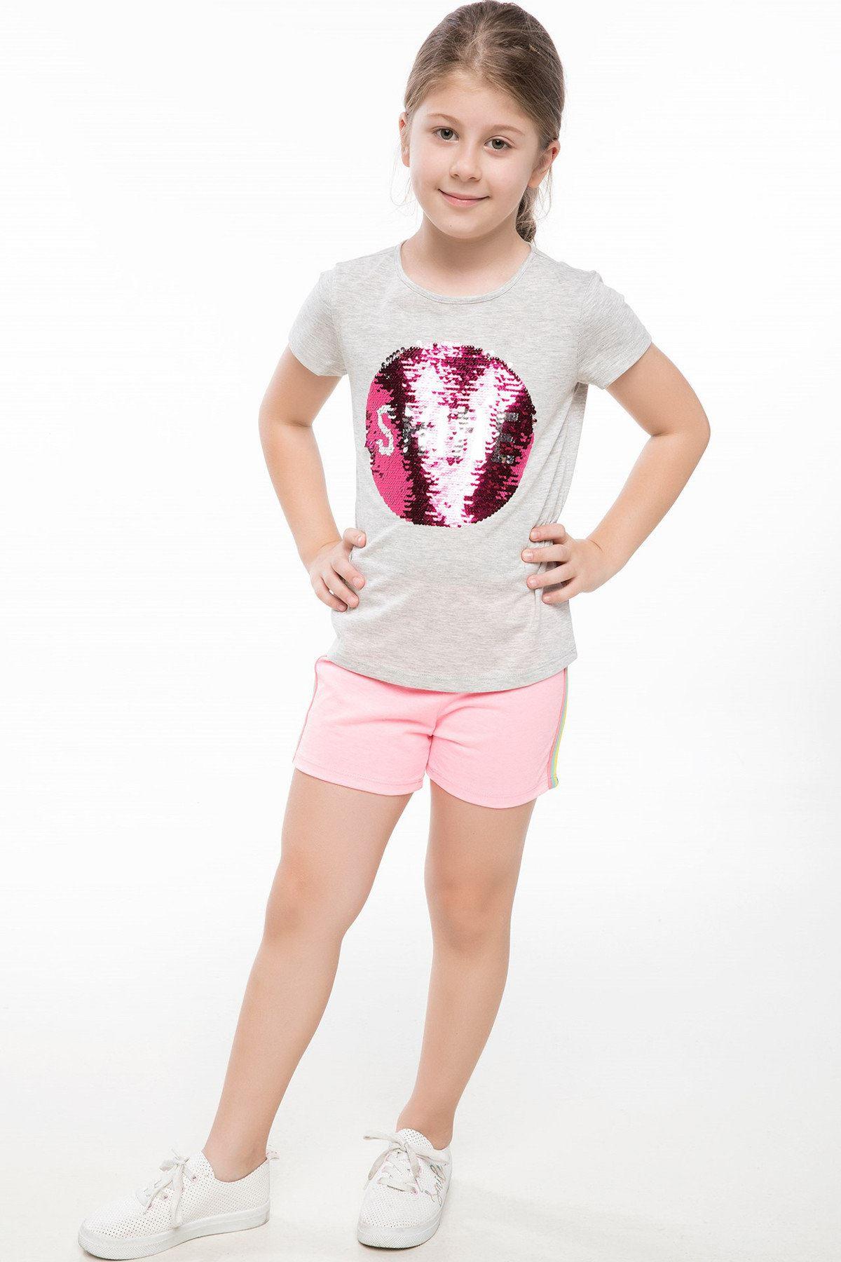 Gri Kız Çocuk T-Shirt