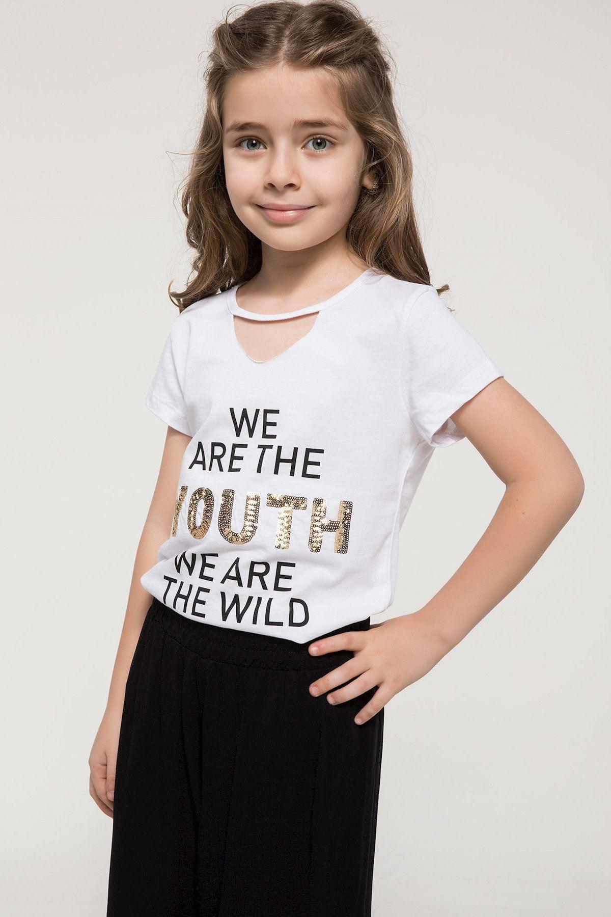 Beyaz Kız Çocuk Baskılı T-Shirt