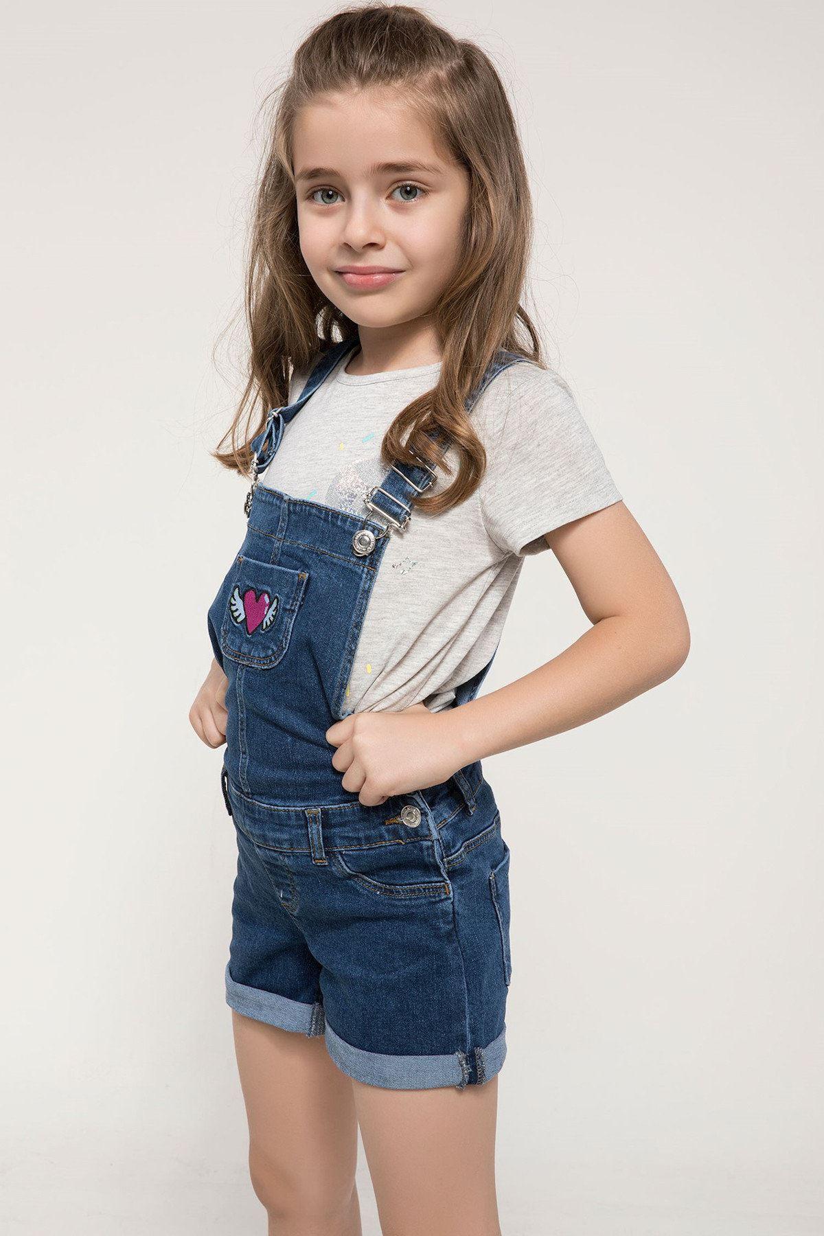 Mavi Baskılı Denim Kız Çocuk Tulum