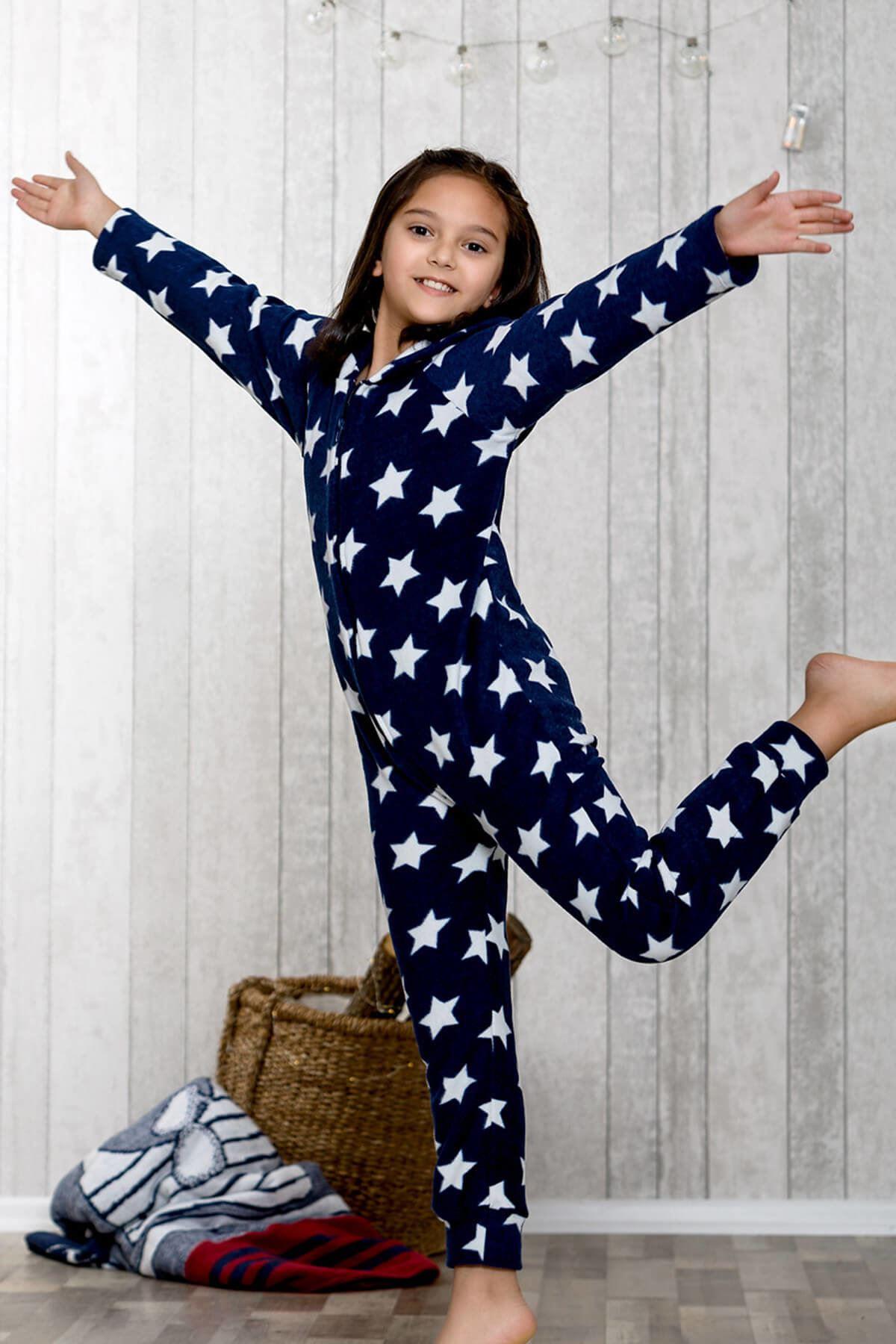 Kız Çocuk Lacivert Yıldız Baskılı Tulum