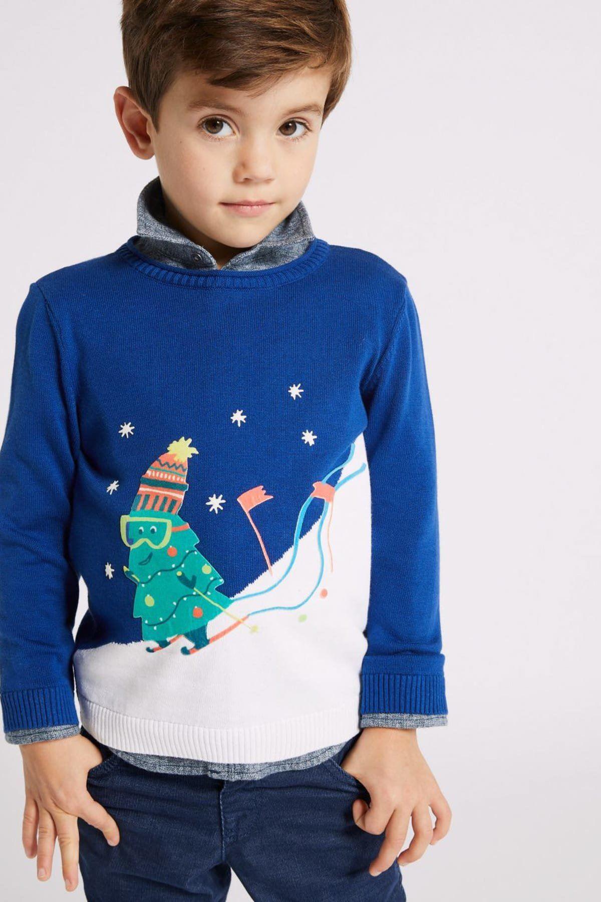 Lacivert Erkek Çocuk Saf Pamuklu Kazak