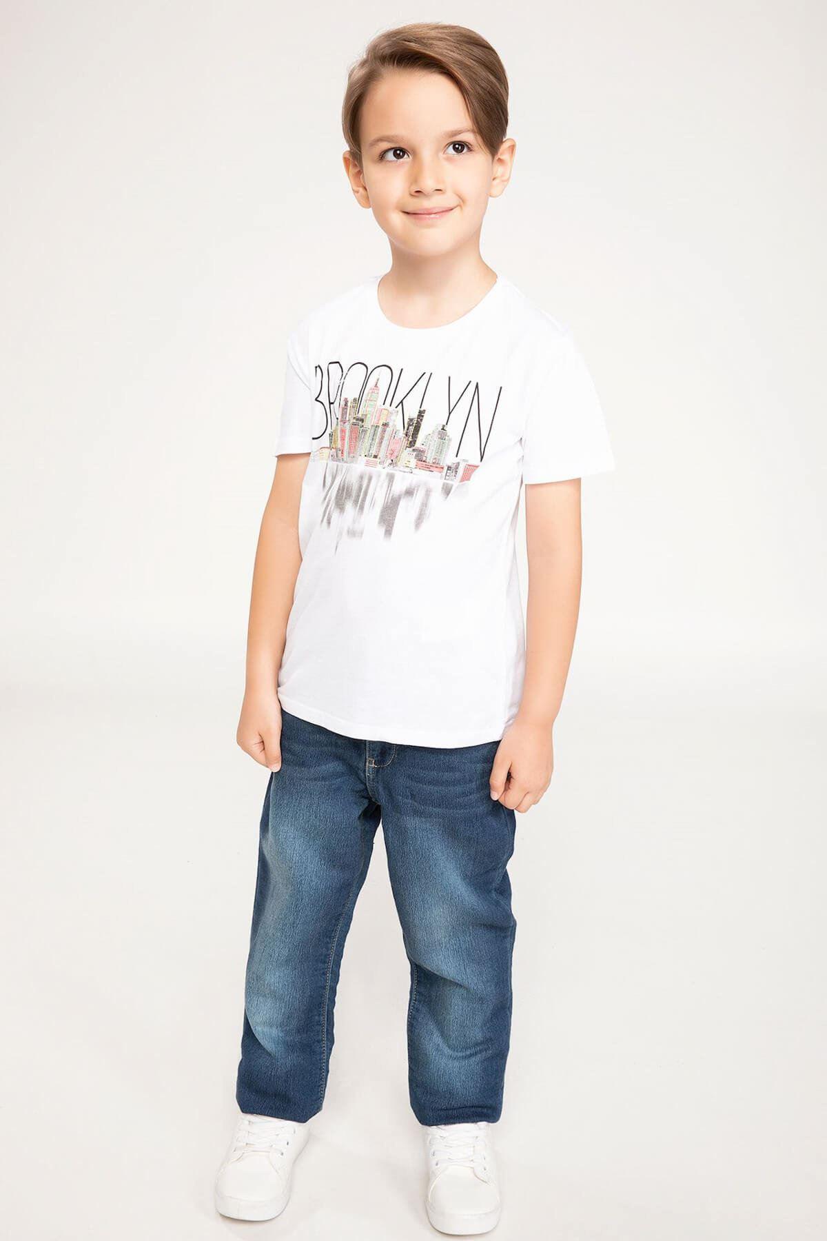 Baskılı Beyaz Erkek Çocuk T-shirt