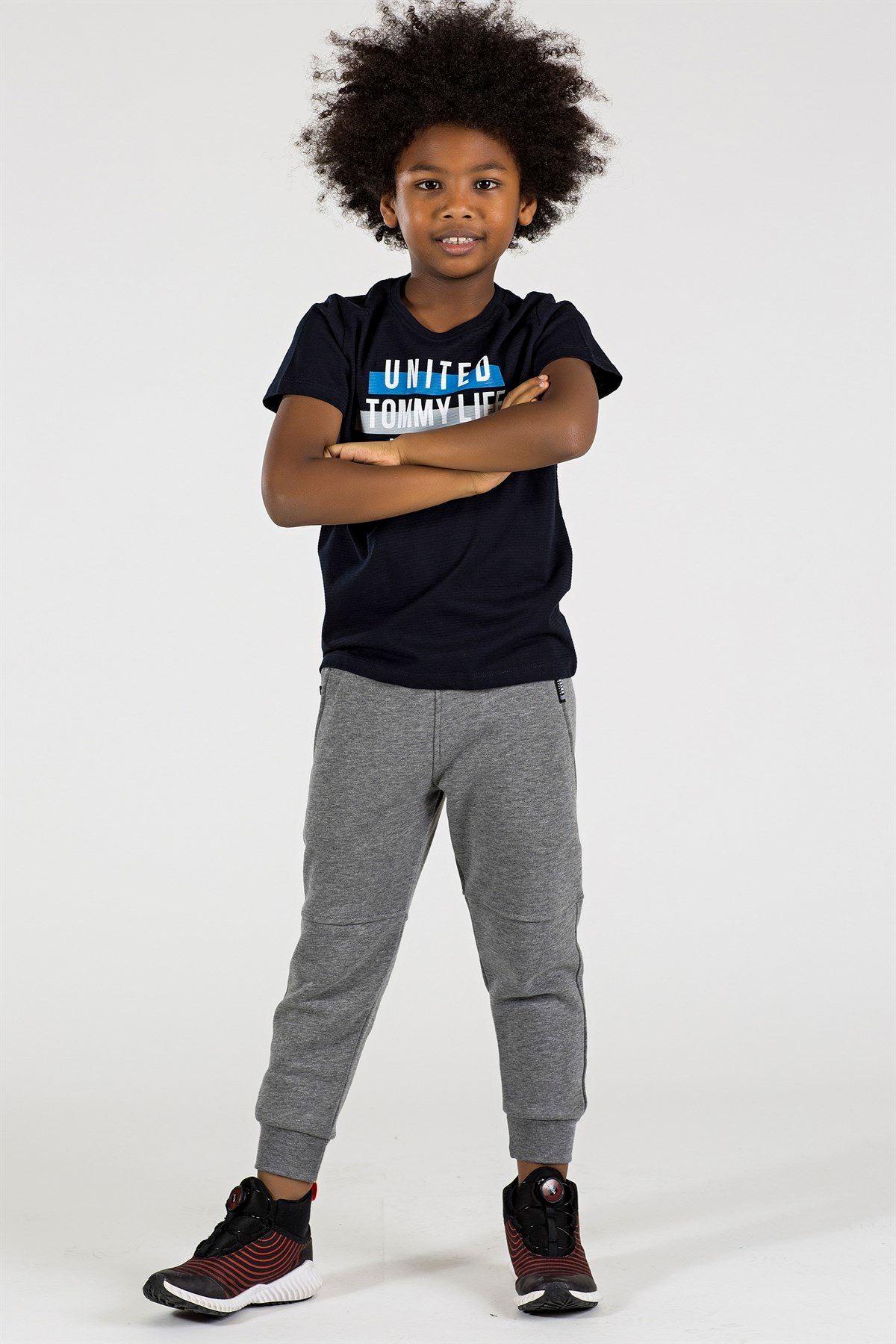Yazı Baskılı Lacivert Erkek Çocuk T-shirt