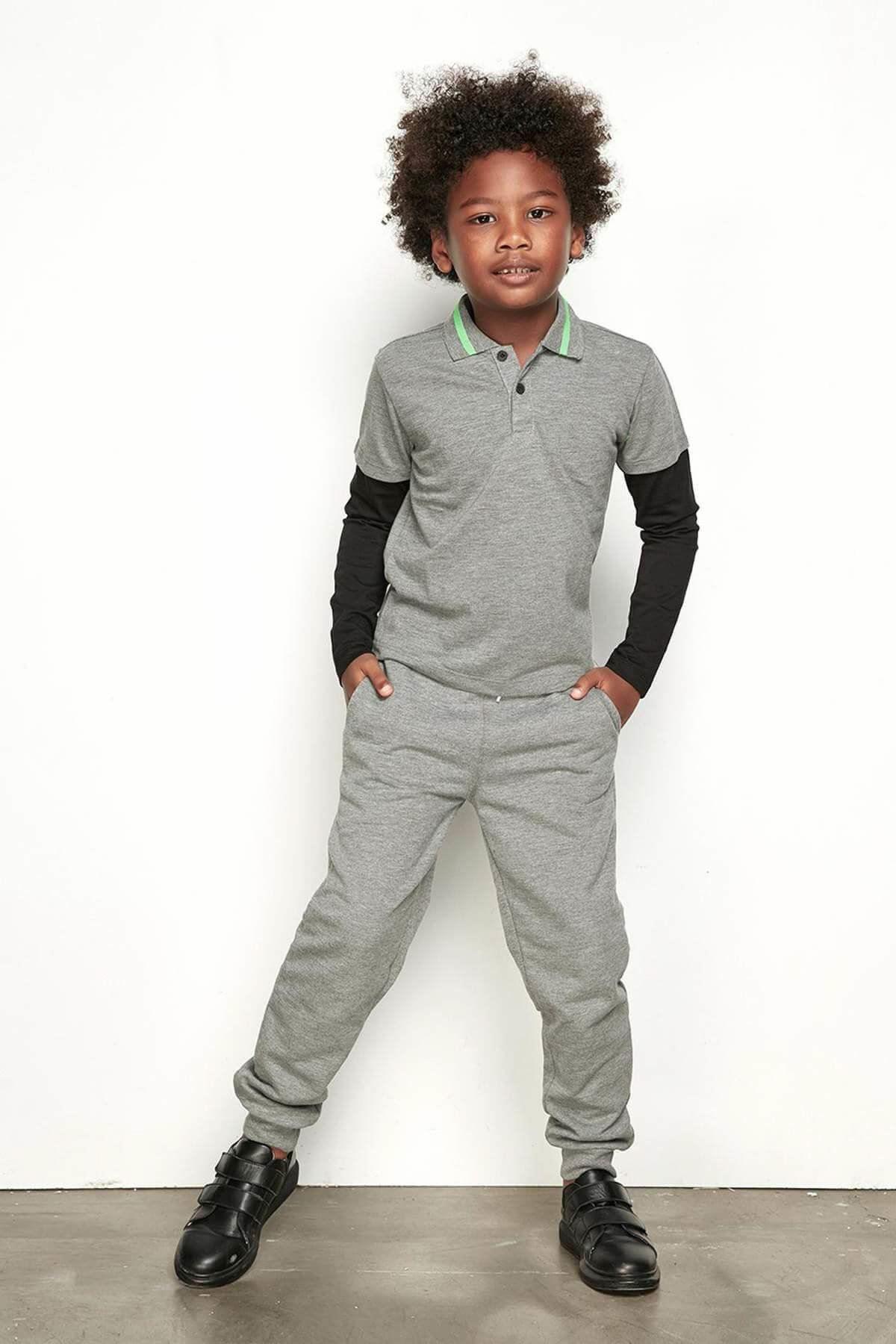 Erkek Çocuk Gri Polo T-Shirt