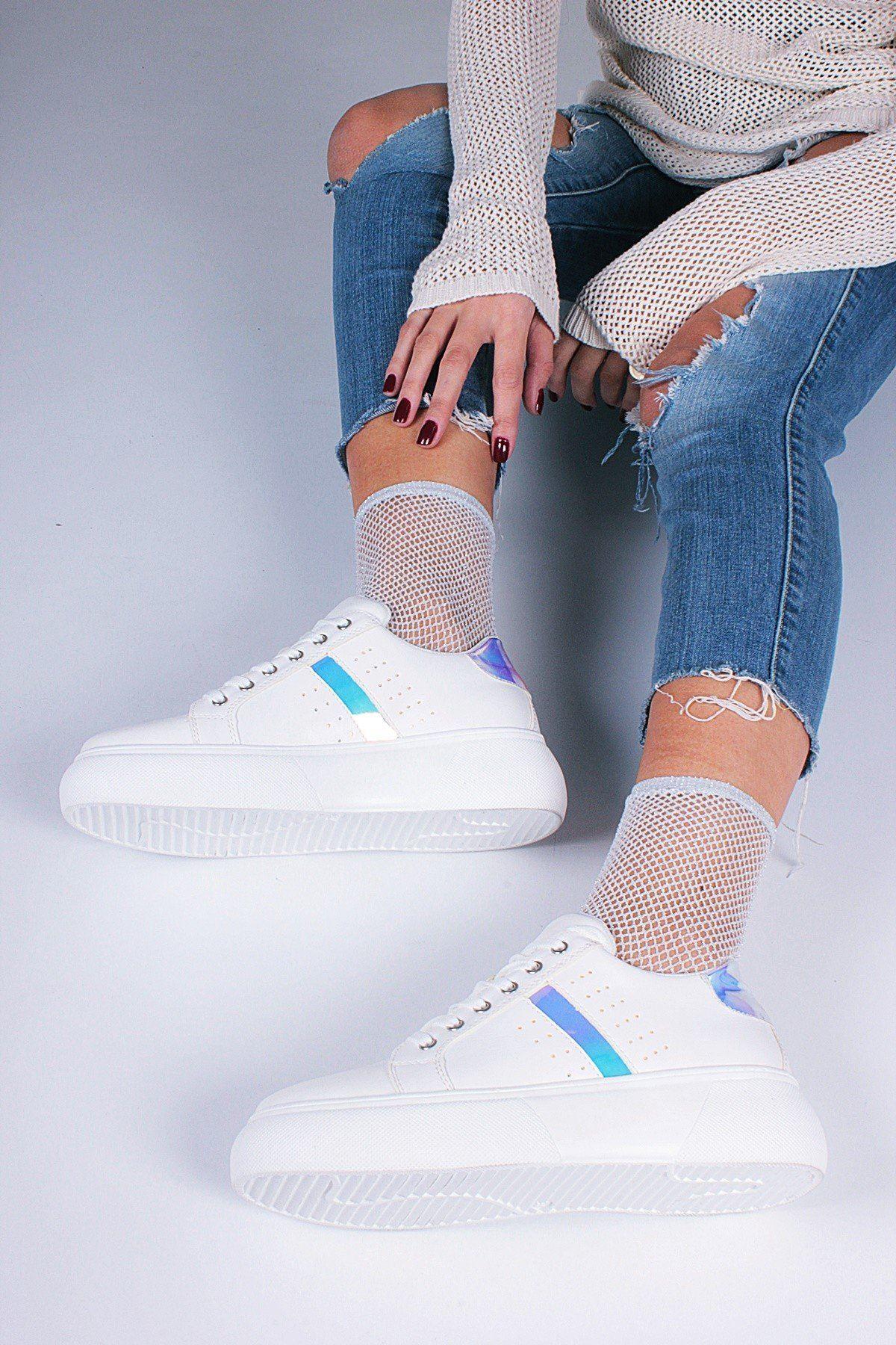 Beyaz Lame Kadın Spor Ayakkabı