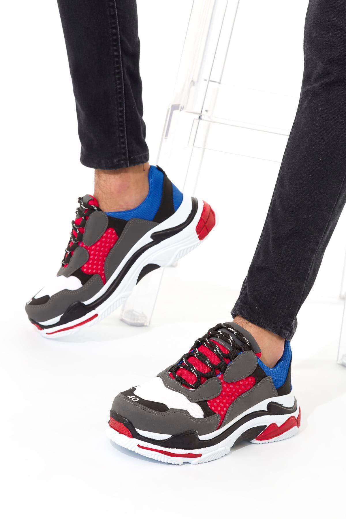 Gri Kırmızı Saks Erkek Sneaker