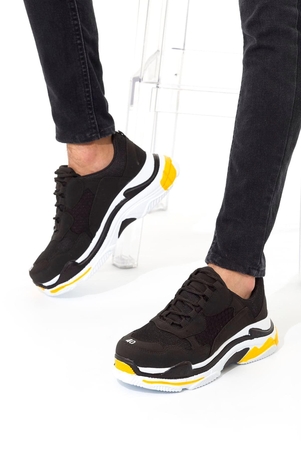 Siyah Sarı Erkek Sneaker