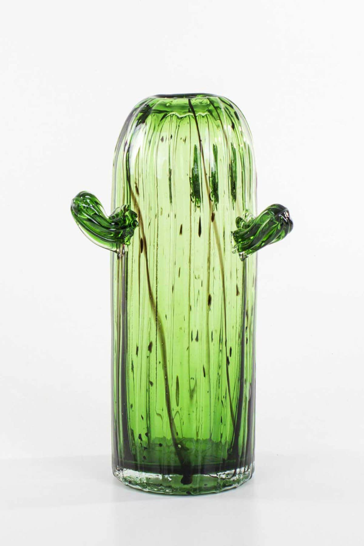 Dekoratif Cam Kaktüs Vazo (Yeşil)