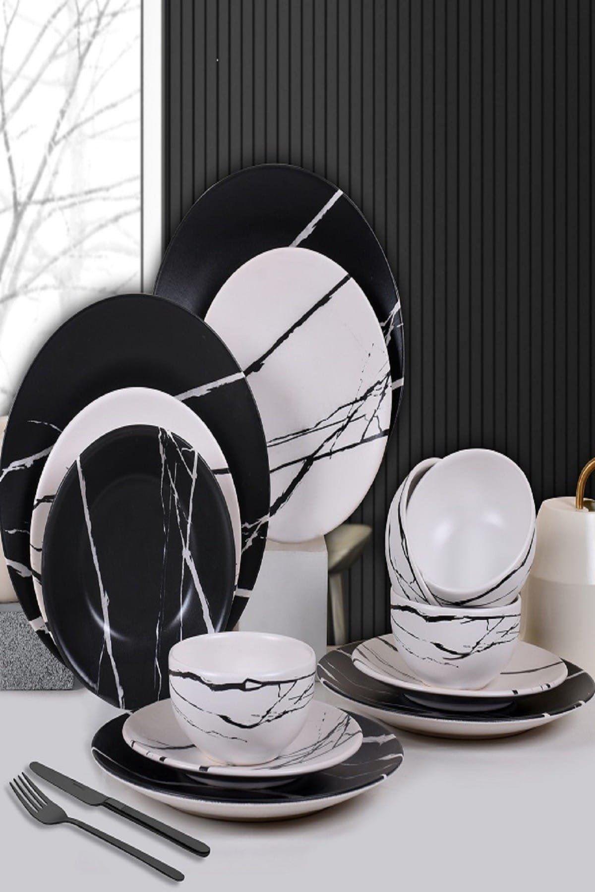 6 Kişilik 24 Parça Siyah Beyaz Mermer Yemek Takımı